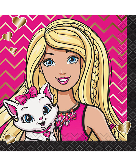 Barbie and Kitten Beverage Napkins By Unique