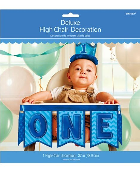 1st Birthday Boys Deluxe 3 Piece Fabric High Chair Banner Kit