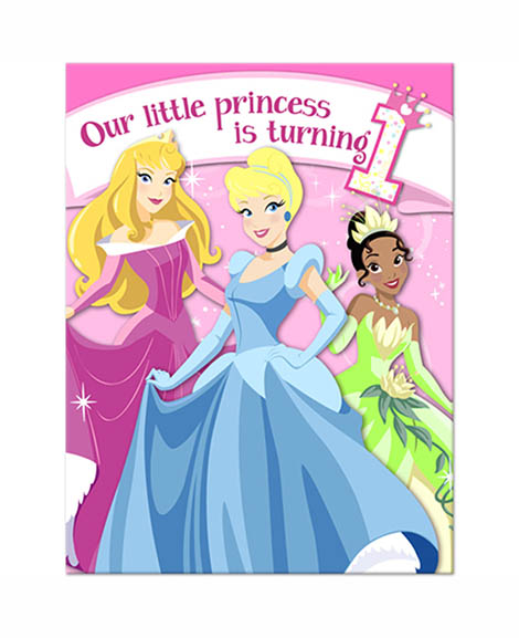Disney Princess 1st Birthday Party Invitations