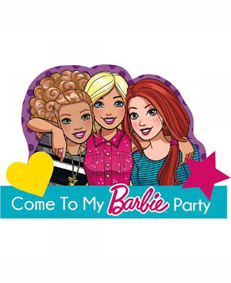 Barbie and Friends Save The Date Postcard Party Invitations