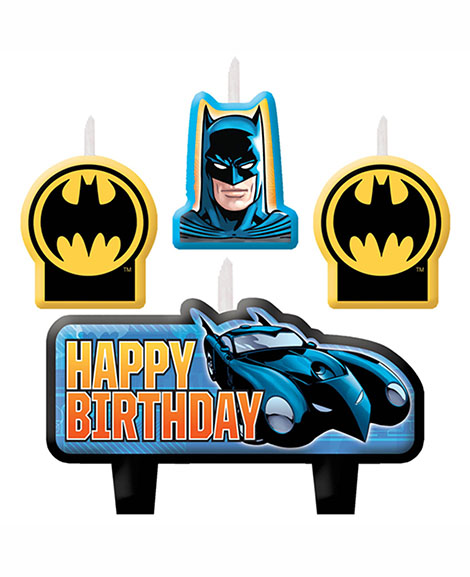 DC Batman Molded Cake Topper 4 Piece Candle Set