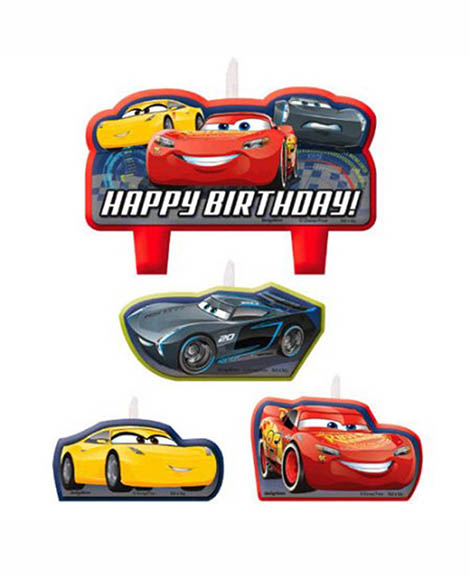 Disney Cars 3 Cake Topper 4 Piece Candle Set at Party Quackers