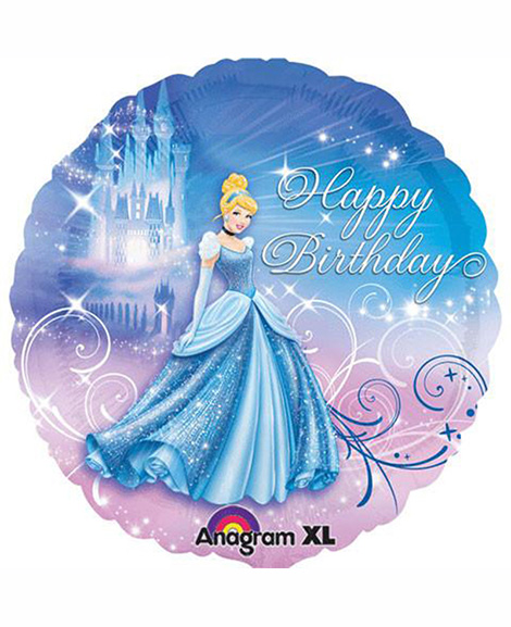 Cinderella Sparkle Happy Birthday 18 Inch Foil Mylar Balloon