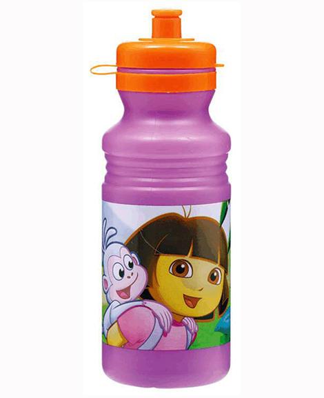 Dora Flower Adventure 18 oz Plastic Water Bottle with Orange Top