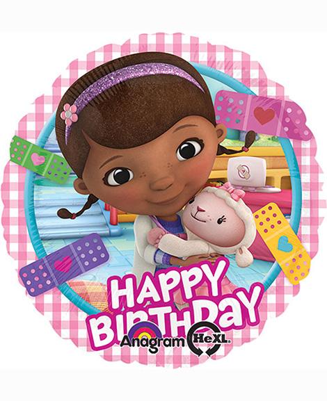 Doc McStuffins Happy Birthday 18 Inch Round Foil Mylar Balloon