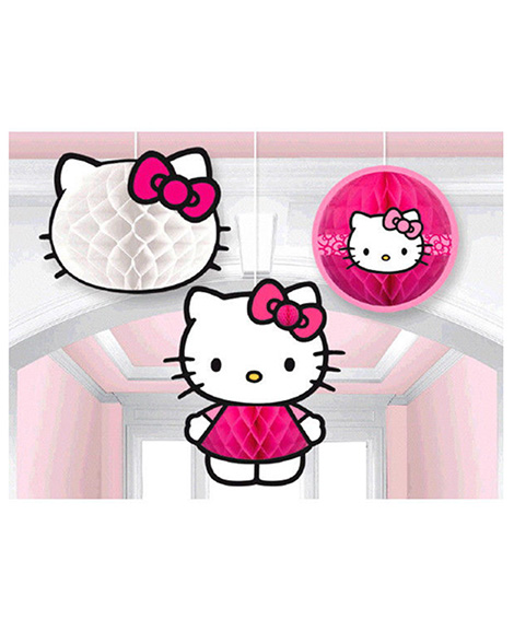 Hello Kitty Rainbow 3 Piece Honeycomb Hanging Decorations