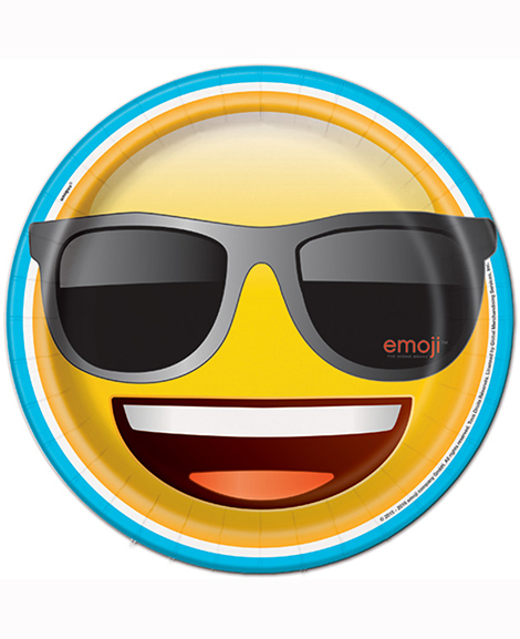 Emoji Cool Face With Sun Glasses Lunch Plates
