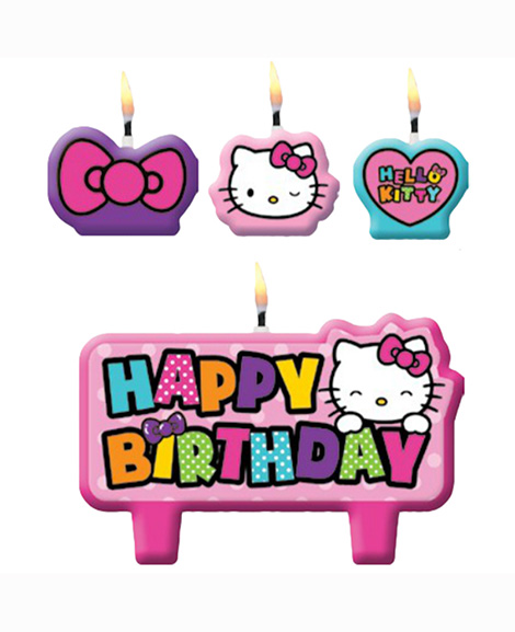 Hello Kitty Rainbow 4 Piece Molded Candle Cake Topper Set