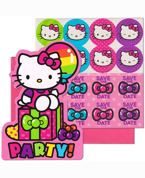 Hello Kitty Rainbow Save The Date Party Invitations