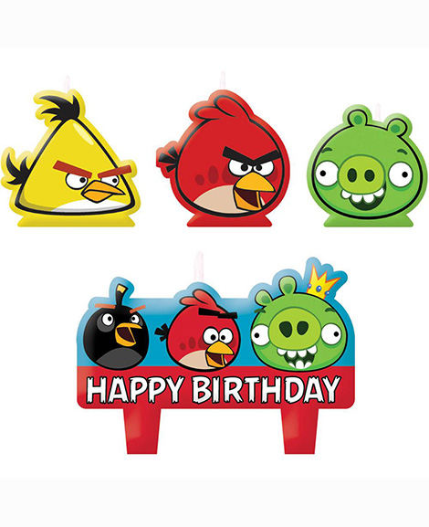 Angry Bird 4 Piece Molded Cake Topper Candle Set
