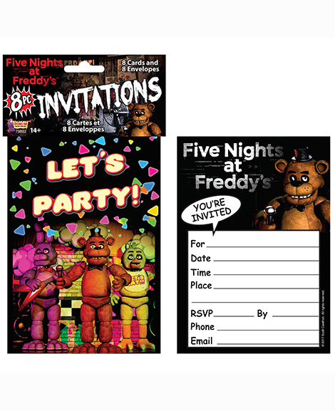 Five Nights at Freddy's Lets Party Invitations 8 Ct