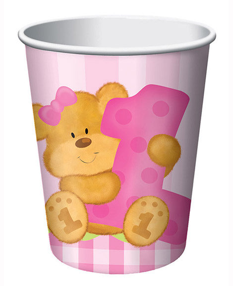 Bears 1st Birthday Girls Pink 9 oz Paper Cups