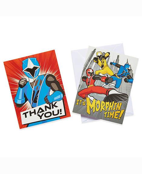 Power Rangers Ninja Steel Invitations Thank You Combo