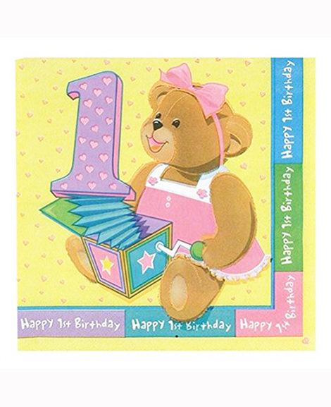1st Birthday Bears Pink Beverage Napkins 16 Ct