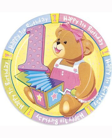 1st Birthday Bears Pink Dessert Plates 8 Ct