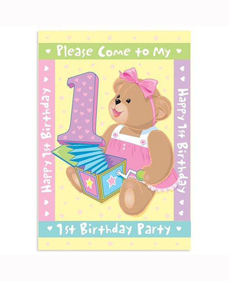 1st Birthday Bears Pink Party Invitations 8 Ct
