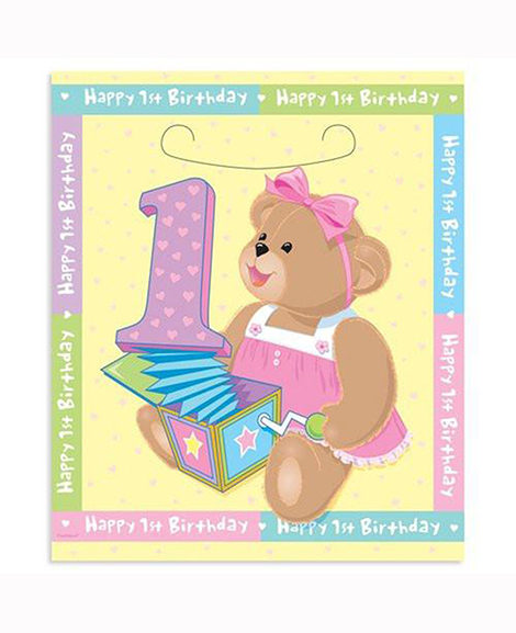 1st Birthday Bears Pink Treat Bags 8 Ct
