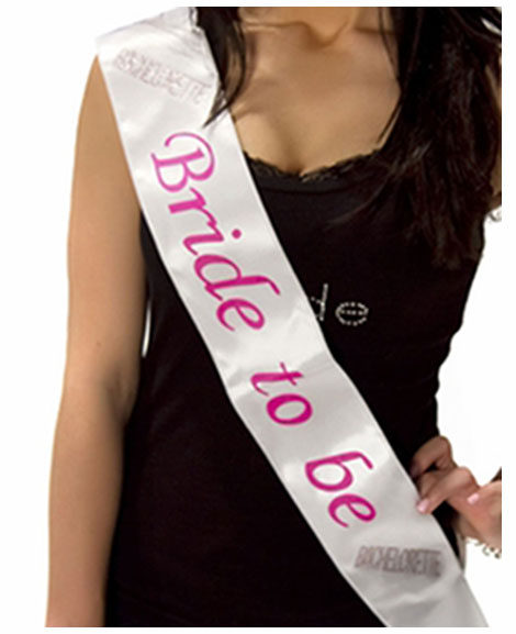 Bride To Be White Satin Bachelorette Sash with Pink Lettering