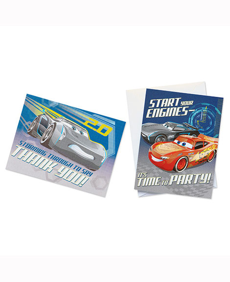 Cars 3 Invitations and Thank You Postcards Combo