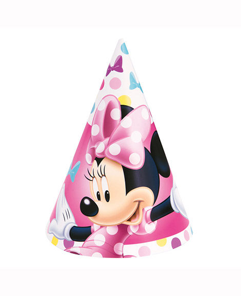 Minnie Bowtique Cone Hats Party Favors 8 Ct
