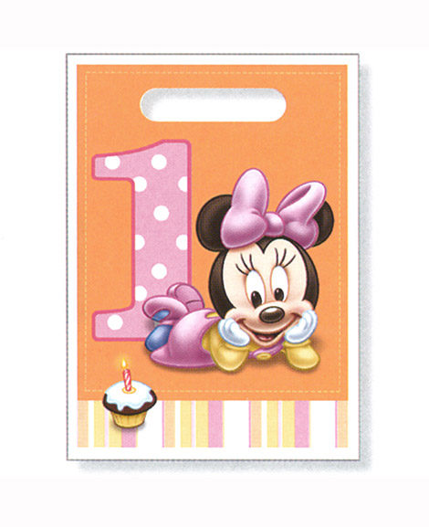 Minnie 1st Birthday Party Favor Treat Bags Plastic 8 Ct