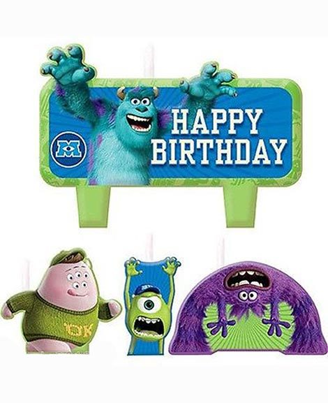 Monsters University 4 Piece Molded Happy Birthday Candle Set