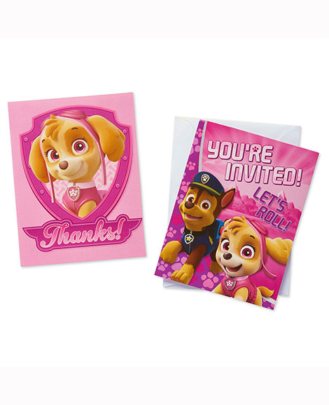 Paw Patrol Girl Invitations and Thank You Postcards Combo