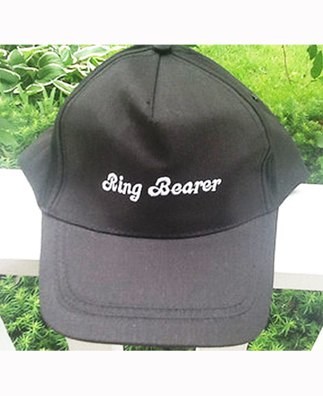 Ring Bearer Baseball Cap Black with White Embroidery