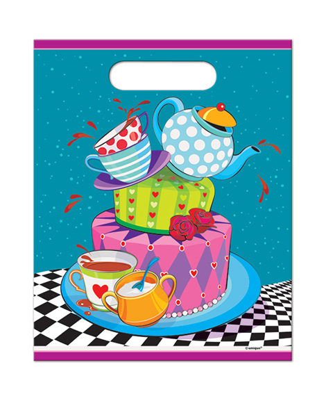 Alice in Wonderland Mad Hatter Tea Party Plastic Treat Bags 8 Ct