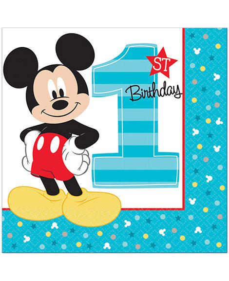 Mickey Fun To Be One 1st Birthday Lunch Napkins 16 Ct