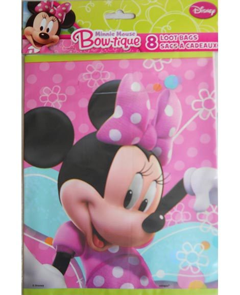 Minnie Mouse Bowtique Party Favor Plastic Treat Bags 8 Ct