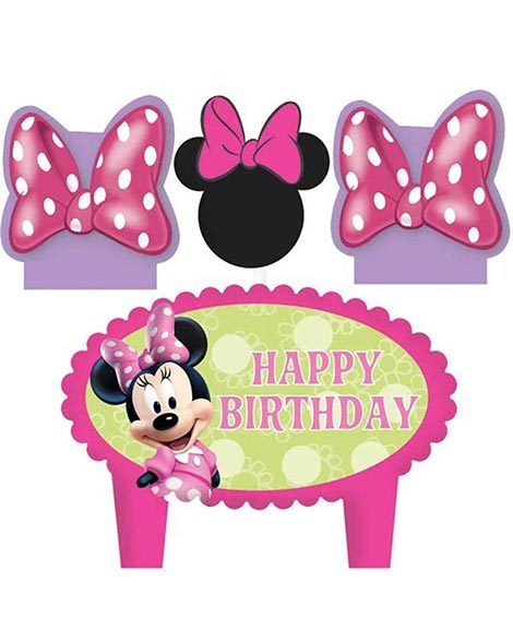Minnie Mouse Molded Cake Topper Candles Set of 4