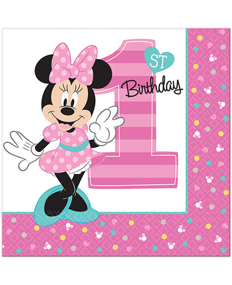 Minnie Fun To Be One First Birthday Lunch Napkins