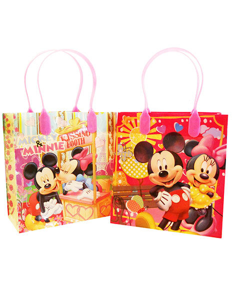Minnie and Mickey Mouse Plastic Gift Bags with handles