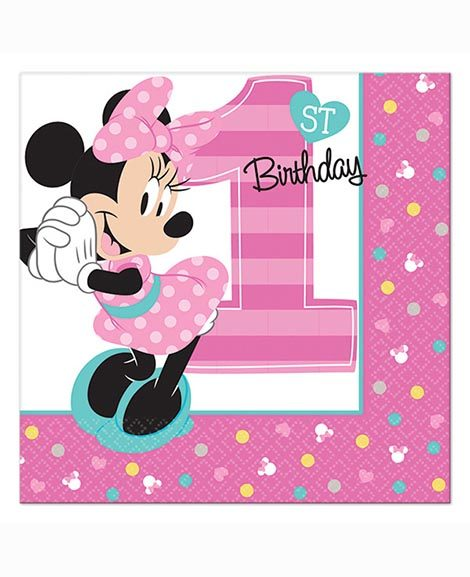 Minnie Fun To Be One First Birthday Beverage Napkins