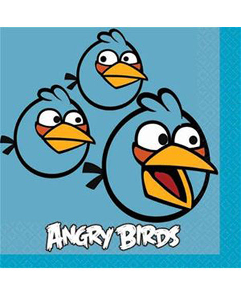 Angry Birds Blue Beverage Napkins 16 Ct