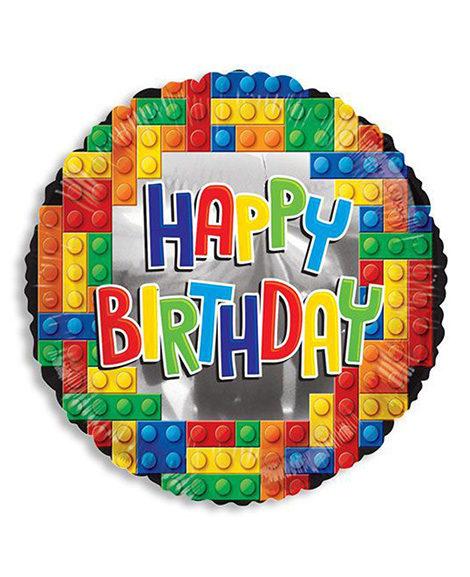 Block Party Lego Happy Birthday Round Mylar Balloon