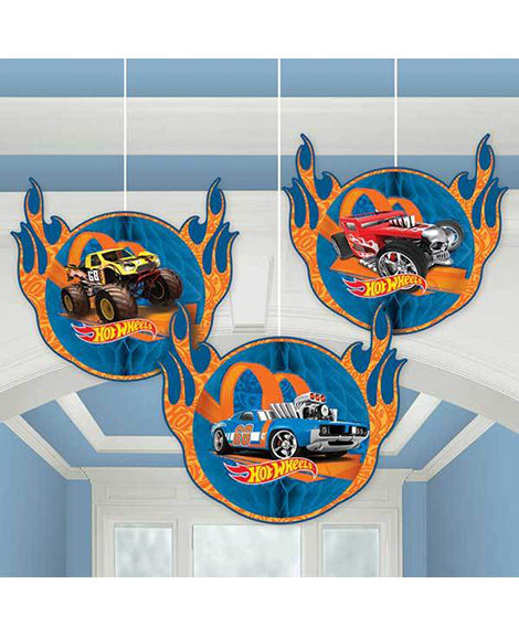 Hot Wheels Wild Racer Honeycomb 3 Piece Hanging Decorations