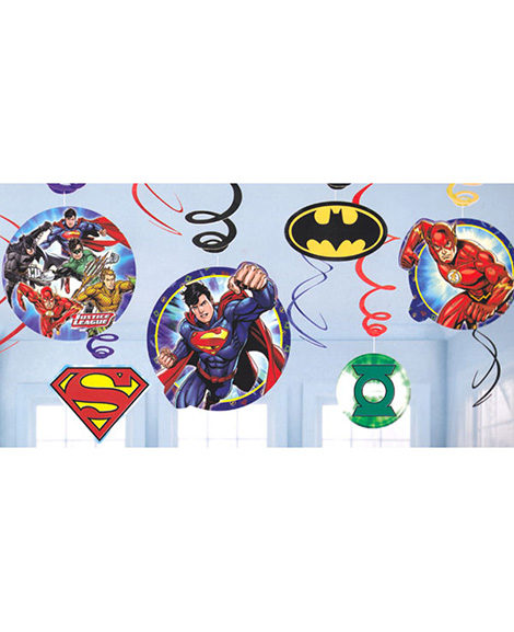 Justice League 12 Piece Hanging Swirl Decorations