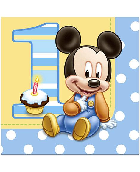 Mickey 1st Birthday Lunch Napkins 16 Ct