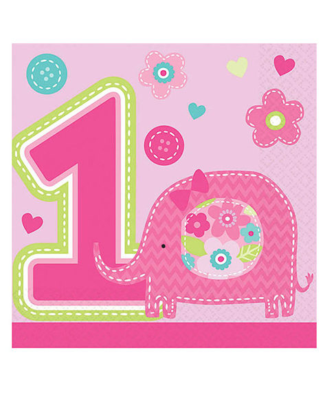 1st Birthday One Wild Girl Beverage Napkins 16 Ct