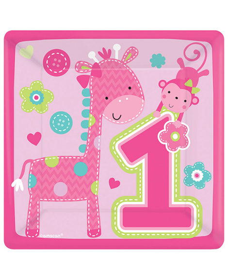 1st Birthday One Wild Girl Dessert Plates 8 Ct