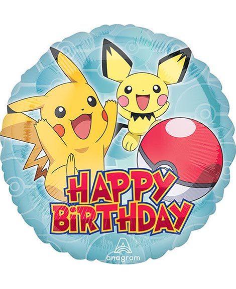 Pokemon Pikachu Happy Birthday Round Foil Mylar Balloon