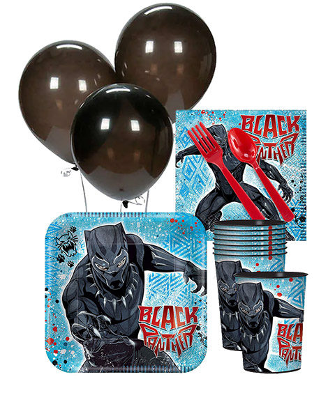 Black Panther Birthday Party Tableware Package for 8 Guests