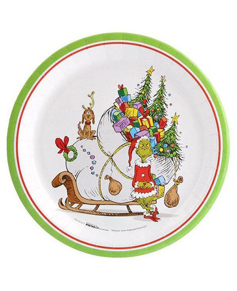 Dr Seuss Grinch Christmas Plates 8 Ct
