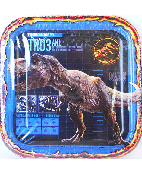 Jurassic World Square Dessert Plate by Unique 8 Ct