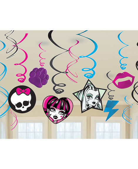 Monster High Hanging Swirl Decorations 12 Pc