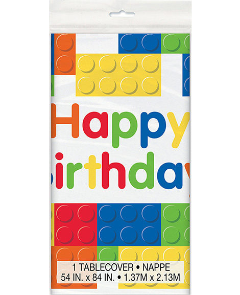 Block Party Happy Birthday Plastic Table Cover
