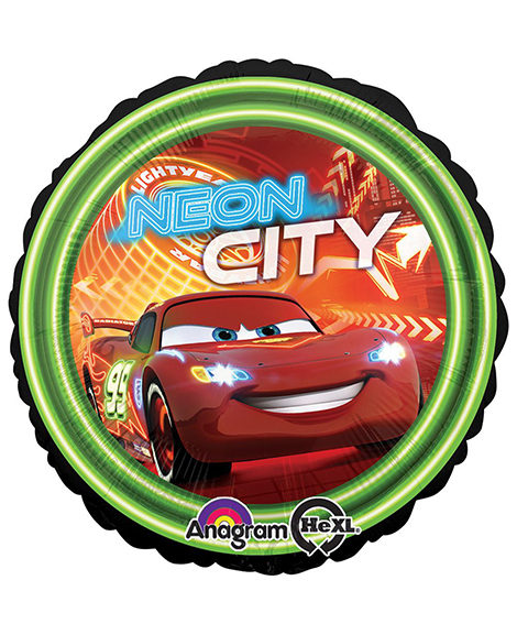 Cars Neon City Foil Mylar Round 18 Inch Balloon